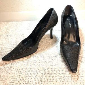 Black Textured Heels